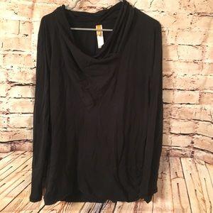 Lucy Women's Black Wrap Sweatshirt LS Top XL